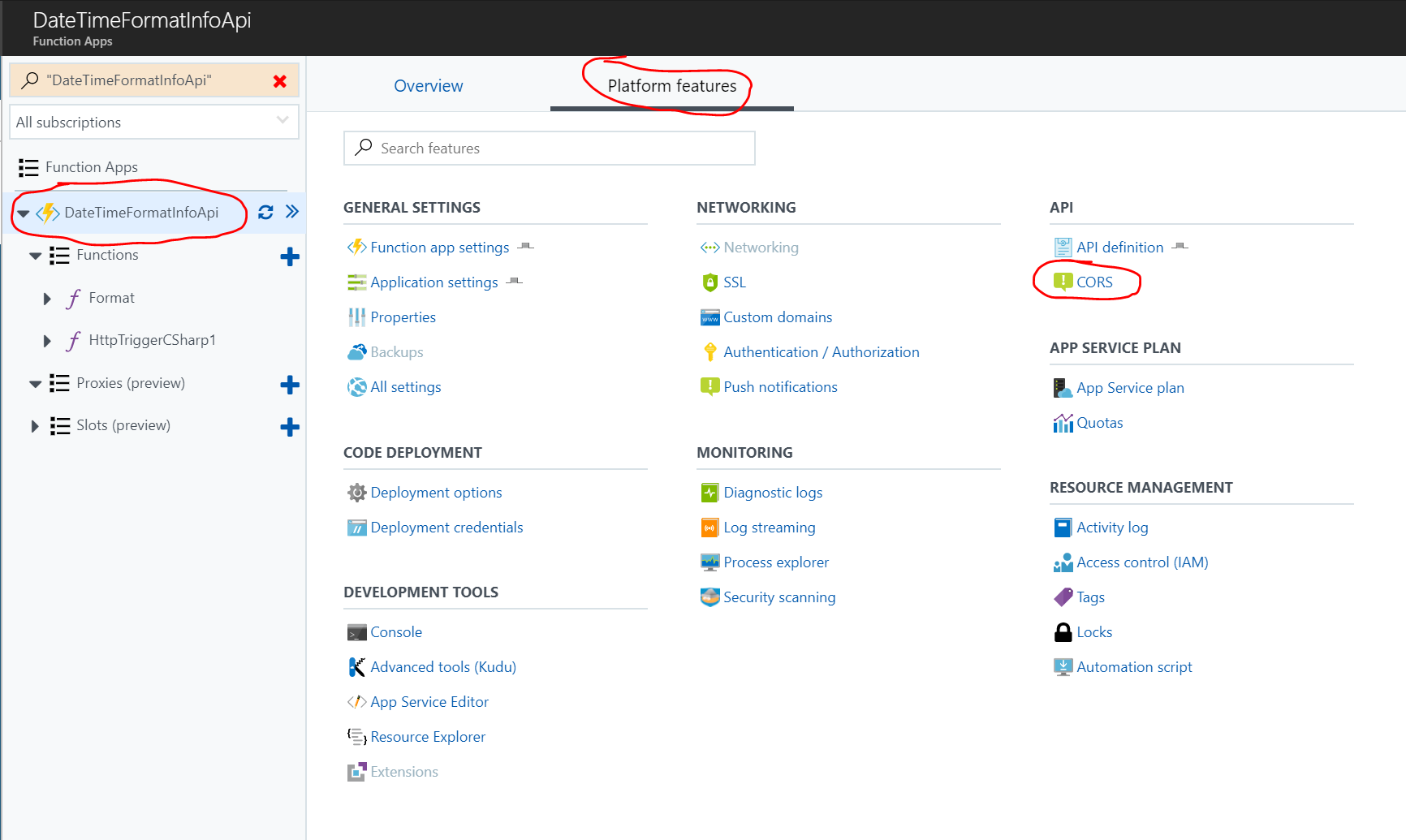 Platform Features tab for Azure Functions App