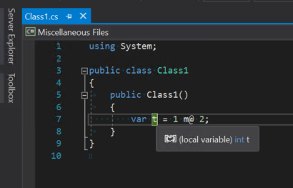 Matt operator used in Visual Studio