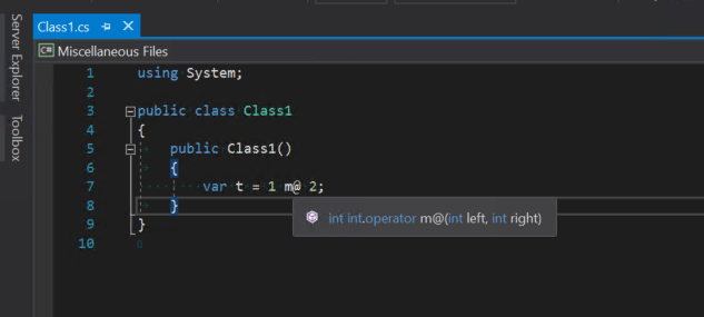 Matt operator property displayed in Visual Studio tooltip